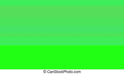 Glitch TV Screen. Green Background - Horizontal Glitch on a...