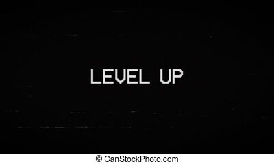 Glitched text Level Up design motion graphic. Distorted glitch style modern background. 4K