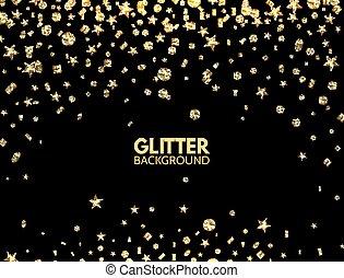 Glitter background. Falling gold glitter confetti. Luxury...