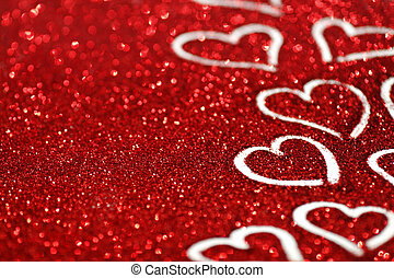 Glitter background with hearts - Red glitter background with...
