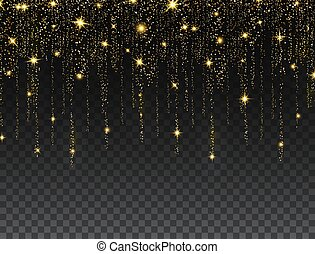 Glitter decoration frame. Gold particle lines on dark background. Golden sparkling confetti. Luxury holiday border. Luxury celebration banner. Bright sparkles and dust. Vector illustration