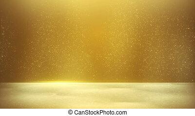 glitter dust on yellow background seamless loop