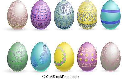glitter easter eggs on a white background