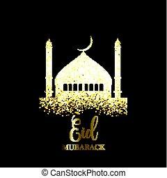 Glitter Eid Mubarak background - Eid Mubarak background with...