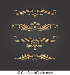 glitter, elementara, design, guld