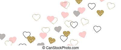 Glitter gold and pink hearts border. Celebration frame. Valentines Day background. Bright doodle heart confetti. Luxury greeting card. Romantic wallpaper design with symbol of love.Vector illustration