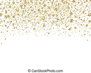 Glitter gold confetti border. Golden sparkles and dust on ...