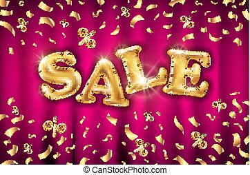 Glitter gold grand sale balloon sign and falling golden foil confetti on a red curtain background. Vector illustration.