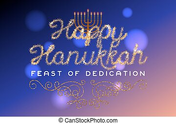 Glitter gold lettering Happy Hanukkah invitation