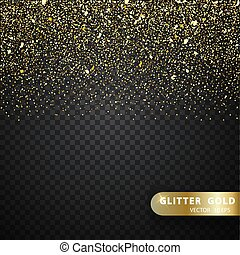 Glitter gold particles light shine effect on transparent...