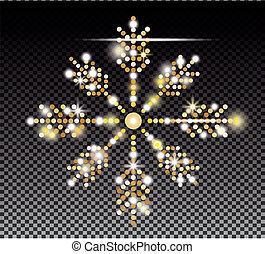 Glitter Gold Snowflake on Transparent Background.