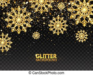 Glitter gold snowflakes with falling particles on transparent background. Shining golden snowflakes with star dust. Sparkling snowflake. Elegant Christmas design. Luxury festive greeting card. Vector illustration