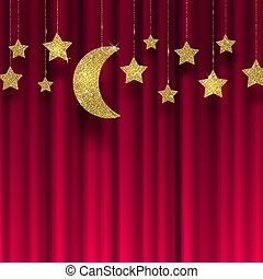 Glitter gold stars and moon on a red curtain  background