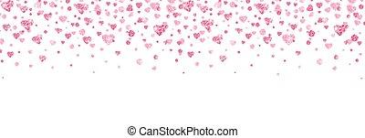Glitter heart confetti border. Bright pink confetti falling ...