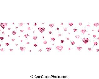 Glitter heart confetti border. Bright pink confetti on ...