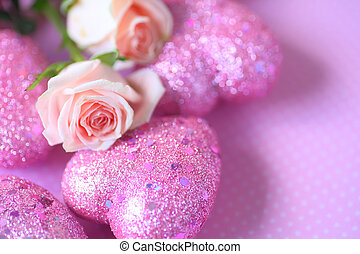 Glitter hearts with pink roses