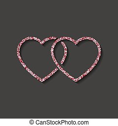 Glitter icon. double red and white heart logo. love symbol. use in decoration, design as the emblem. vector illustration.