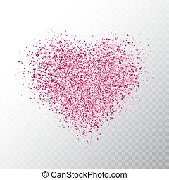 Glitter pink heart isolated on transparent background. Glowing heart banner with star dust. Magic particles. Bright sparkles heart. Holiday luxury design. Vector illustration