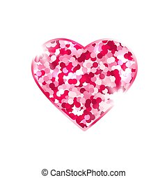 Glitter pink heart isolated on white background. Romantic design element with symbol of love. Valentines Day card. Bright heart with sparkles and stars. Vector illustration