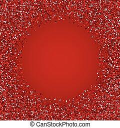 Glitter red round frame.