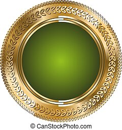 Glitter round green template with gold lines on white background.