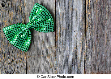 Glitter Shamrock on Rustic Wooden Background