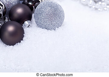 glitter silver christmas baubles decoration holidays ...