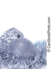 glitter silver christmas baubles decoration holidays isolated