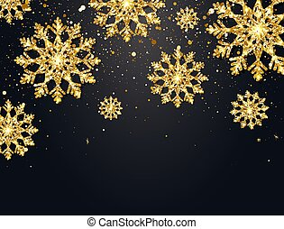 Glitter snowflakes with falling particles on dark background. Shining gold snowflakes with star dust. Sparkling snowflake. Luxury festive greeting card. Elegant Christmas design. Vector illustration