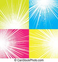 Glitter stars descending on beams