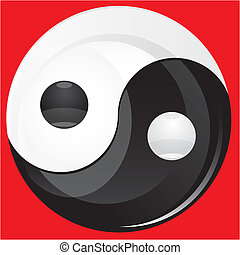 Glitter Yin yan black and white sign isolated on red, vector illustration