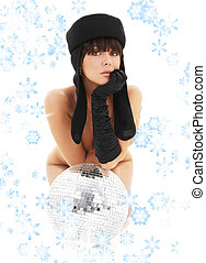 glitterball girl with snowflakes