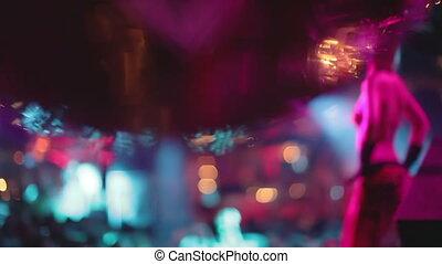 glitterball, strzał, abstrakcyjny, zamazany, gogo, tancerz, nightclub, tło, zamknięcie