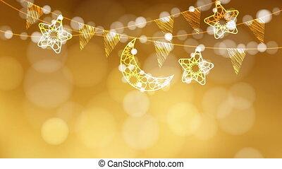 Glittering arabic lanterns, flags, decorative moon, stars...