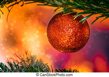 Glittering Christmas bauble in red color
