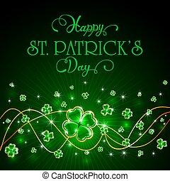 Glittering clover leaves on green Patricks Day background