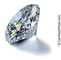 Glittering Diamond - A close up of a diamond over a white...