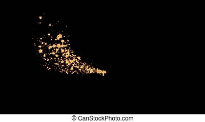 Glittering gold star , dust circle ,glow , lights on black background.4K