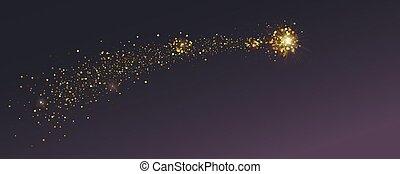 Glittering golden Bethlehem Star. Flying comet with shimmering dust. Abstract background. Vector illustration