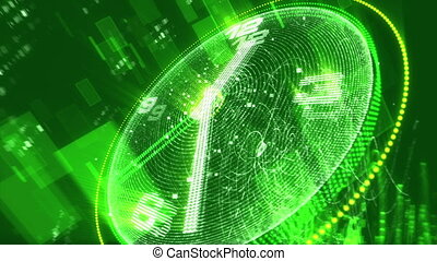 """""""Glittering green clock with pixilated screen"""""""