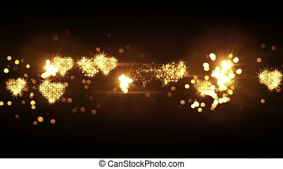 glittering heart shapes from firework bursts loop