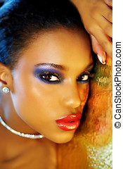 Glittering Make-Up - Beautiful mixed race woman with ...