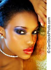 Glittering Make-Up - Beautiful mixed race woman with...