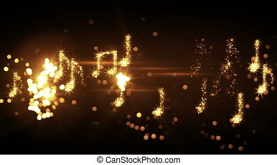 glittering music notes and fireworks loopable animation