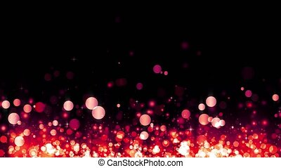 Glittering rising red particles. Background with shiny particles. Beautiful bokeh light background. Red confetti shimmering with magical sparkling light. Seamless loop