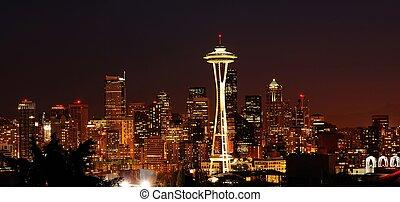Glittering Seattle skyline - Dazzling image of the emerald...
