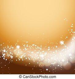glittering stars flowing orange background
