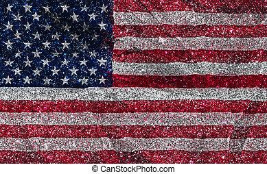 glittery, アメリカの旗, 効果, 背景