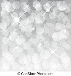 glittery, ライト, 抽象的, 銀