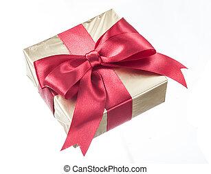 glittery, 贈り物, 隔離された, 弓, ペーパー, 包まれた, 白い赤